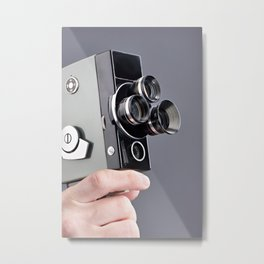 Retro hobbies movie camera in hands Metal Print