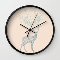 wesley bird Wall Clocks featuring Blue Deer by Huebucket