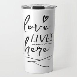 Love Lives Here | Framed Wooden Sign | Farmhouse Style | Rustic Decor | Fixer Upper | Welcome Home Travel Mug