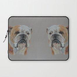English Bulldog Dog portrait Pastel drawing Cute pets on grey background Laptop Sleeve