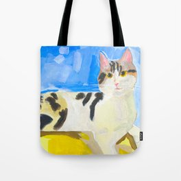 A Cat by the Window on a Sunny Day Tote Bag