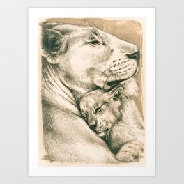 Lioness And The Cub Art Print