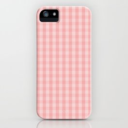 Large Lush Blush Pink Gingham Check Plaid iPhone Case