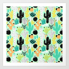 Cactus Crazy in Mint - Small Scale Art Print