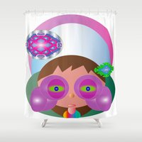 lucy Shower Curtains featuring Lucy by J Riley