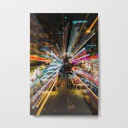 Neon Lights at the Hong Kong Night Market Metal Print
