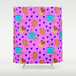 Lovely sweet gingerbread men cookies, chocolate, cups of hot cocoa, hearts pink girly winter pattern Shower Curtain