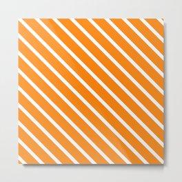 Apricot Diagonal Stripes Metal Print