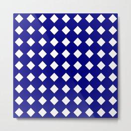 rhombus and tartan 6–  blue and white Metal Print