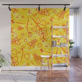 Plant mustard and peach stems and elements on an orange background in a natural style. Wall Mural