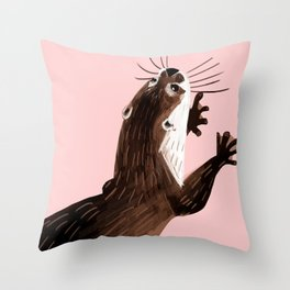 Asian small-clawed otter Throw Pillow