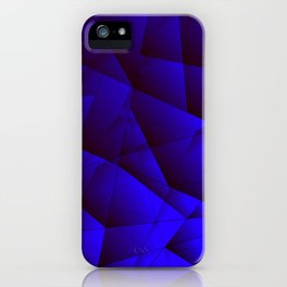 Dark contrasting blue fragments of crystals on triangles of irregular shape. iPhone Case