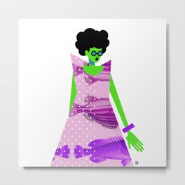 Fish Dress and Sunglasses Metal Print