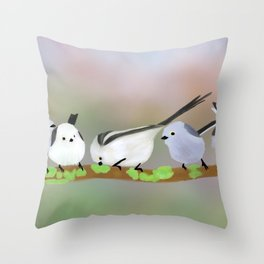 Long-tailed tits on a branch Throw Pillow