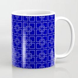 Dark Earth Blue and White Interlocking Square Pattern Coffee Mug
