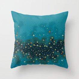 Blue Rift Galaxy (8bit) Throw Pillow
