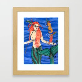Mardi Gras Mermaid Framed Art Print