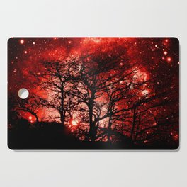 black trees red space Cutting Board