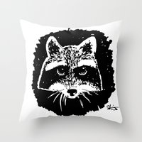 racoon Throw Pillows featuring Racoon by leart