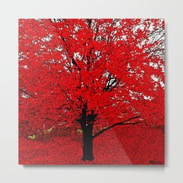 TREES Red Leaves Abundance Metal Print