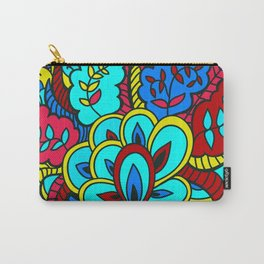 1960's Hippie Boho Chic Blue Psychedelic Pattern Carry-All Pouch