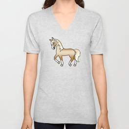 Palomino Trotting Horse Cute Cartoon Illustration Unisex V-Neck