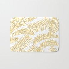 Palm Leaf Pattern Gold Bath Mat