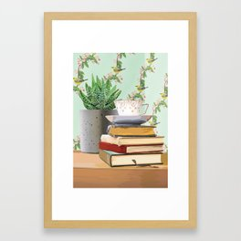 Tea and book love Framed Art Print