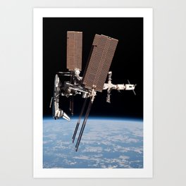 Endeavour docked to ISS Art Print