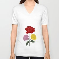 peonies V-neck T-shirts featuring PEONIES by Alba Rivadulla Duró
