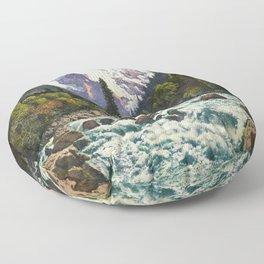 Mountains Forest Rocky River Floor Pillow