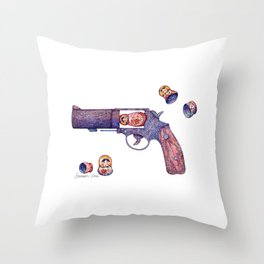 Russian Roulette Pun Throw Pillow