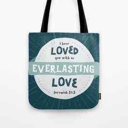 """""""Everlasting Love"""" Hand-Lettered Bible Verse Tote Bag"""