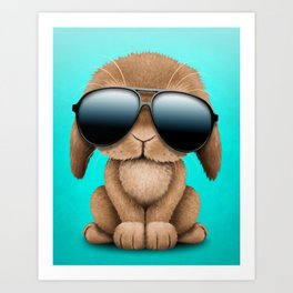 Cute Baby Bunny Wearing Sunglasses Art Print