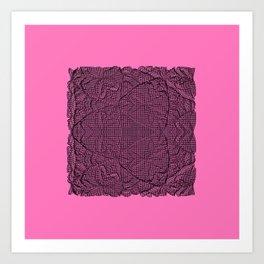 Black abstract pattern on pink bakground Art Print