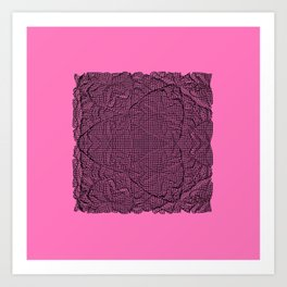 Black abstract pattern on pink bakground Art Print
