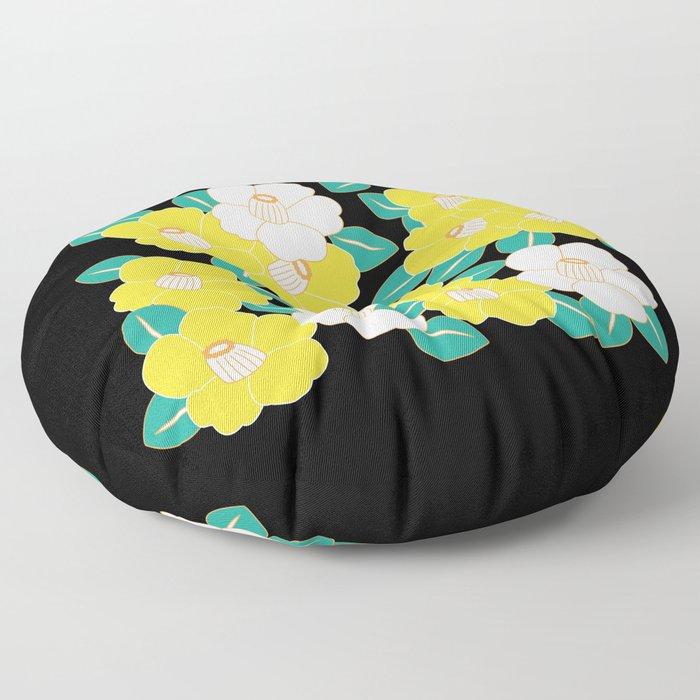 Shades of Tsubaki - Yellow & Black Floor Pillow