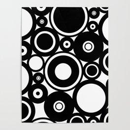 Retro Black White Circles Pop Art Poster