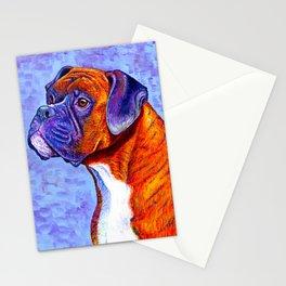 Colorful Brindle Boxer Dog Stationery Cards