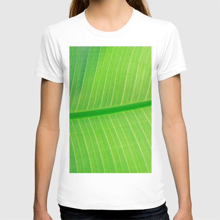 Close Up Of Green Banana Leaf Lime Green Tropical Leaf T-shirt