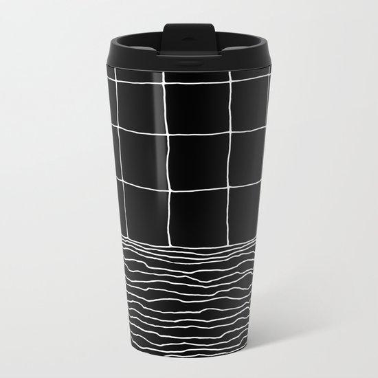 Hand Drawn Grid Metal Travel Mug