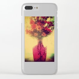Vintage Flowers of August Clear iPhone Case