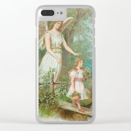 Vintage Guardian Angel Clear iPhone Case