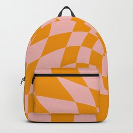 Wavy Check - Orange And Pink - Checkerboard Pattern Print Backpack