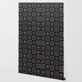 Bohemian Black Red Folk Art Patchwork Wallpaper