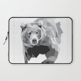 Geometric Bear on White Laptop Sleeve