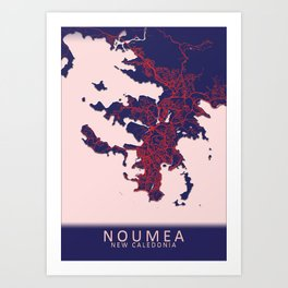Noumea, New Caledonia, Blue, White, City, Map Art Print