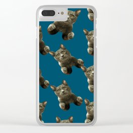 night sky skydiving funny flying cat Clear iPhone Case