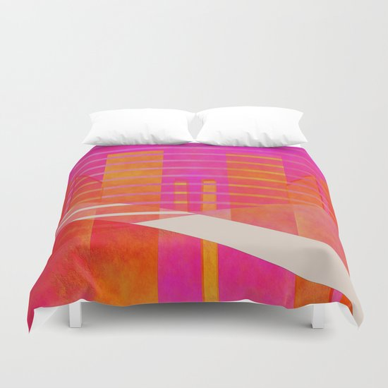 Abstract geometry pink and orange Duvet Cover