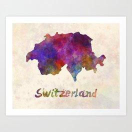 Switzerland in watercolor Art Print
